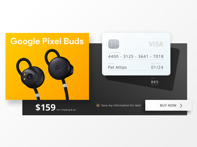 Single Product Checkout pixel buds google ui sketch product checkout credit card dailyui