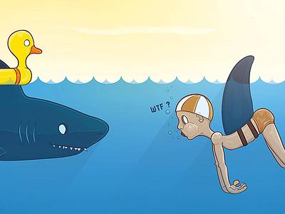 Boy and shark illustration charter boy shark funny wtf sea water duck vector