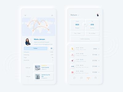 Neumorphic Rebound of Nomad iOS UI Kit traveling uikit travel profile iphone map adobe xd minimal clean  creative neumorphic ux ui design neumorphism app design design trends 2020