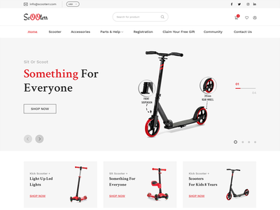 Scooterr Product Landing Page clean product design ecommerce shopify teens toddler white specindia design landing page scooter clean  creative flat adobe xd minimal