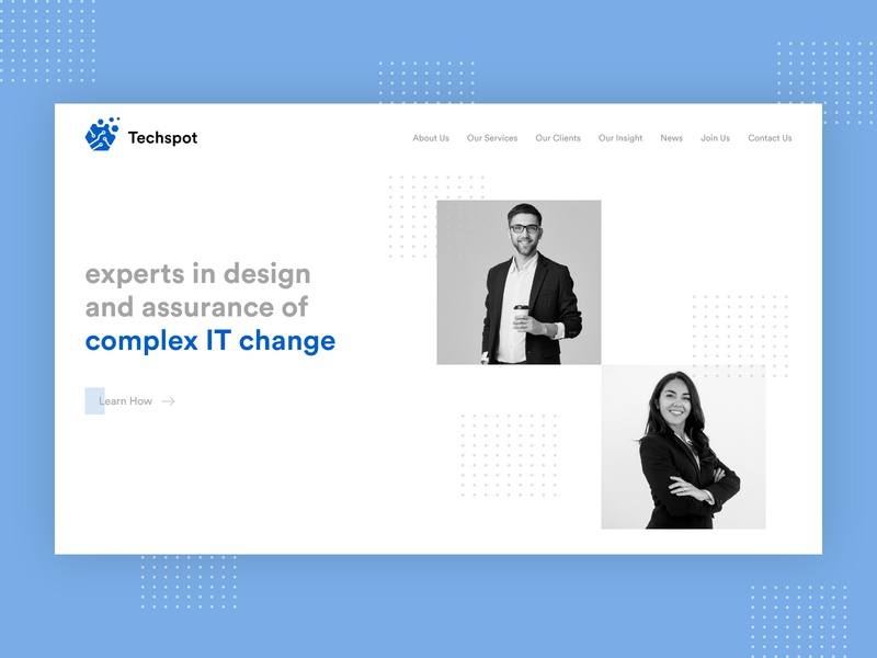 Home Page Design for IT Company corporate information technology it flat website white inspiration landing page specindia adobe xd clean  creative ux ui design