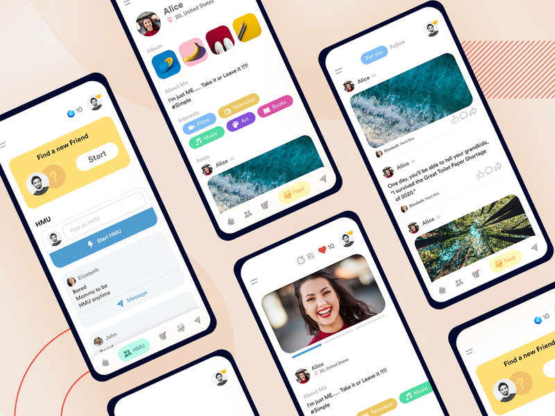 Social Meet Mobile Application app meeting network android ios mobile dating friends tinder meet social mobile app specindia flat adobe xd ux ui design