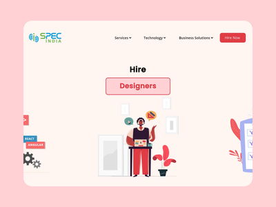 Hire Consultant Animation Concept hero after effect concept developer tester designer interaction branding flat specindia illustration clean  creative minimal design software house animation banner landing page consultant hire