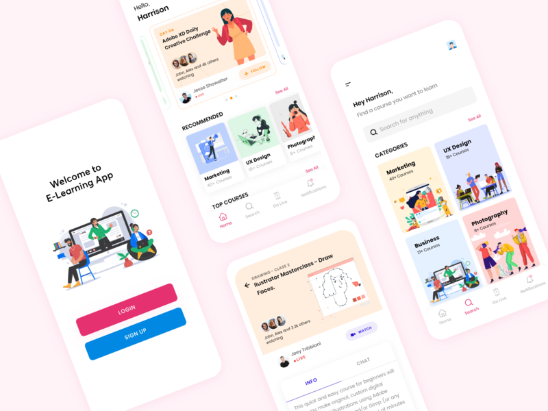 E-Learning App Concept class courses student learning app coaching study knowledge exam education elearning online vector flat mobile app specindia adobe xd clean  creative ux minimal ui
