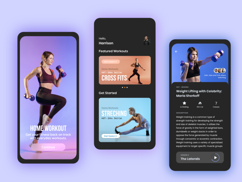 Home Workout Application android ios stretching cross fit workout exercise mobile app fitness covid19 corona adobe xd specindia minimal ux ui design gym app home workout workout app gym