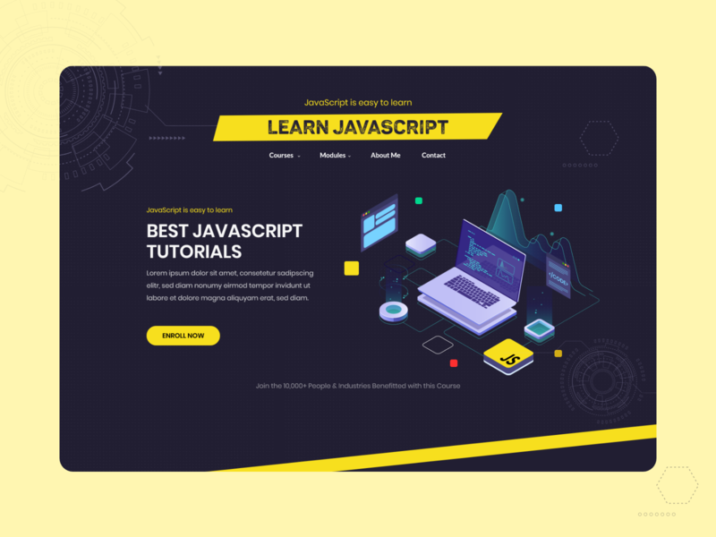 Landing Page for Best JavaScript Tutorials platform mentor coding programmer course learning interaction black yellow javascript elearning courses website concept landing page adobe xd clean  creative ux ui design specindia
