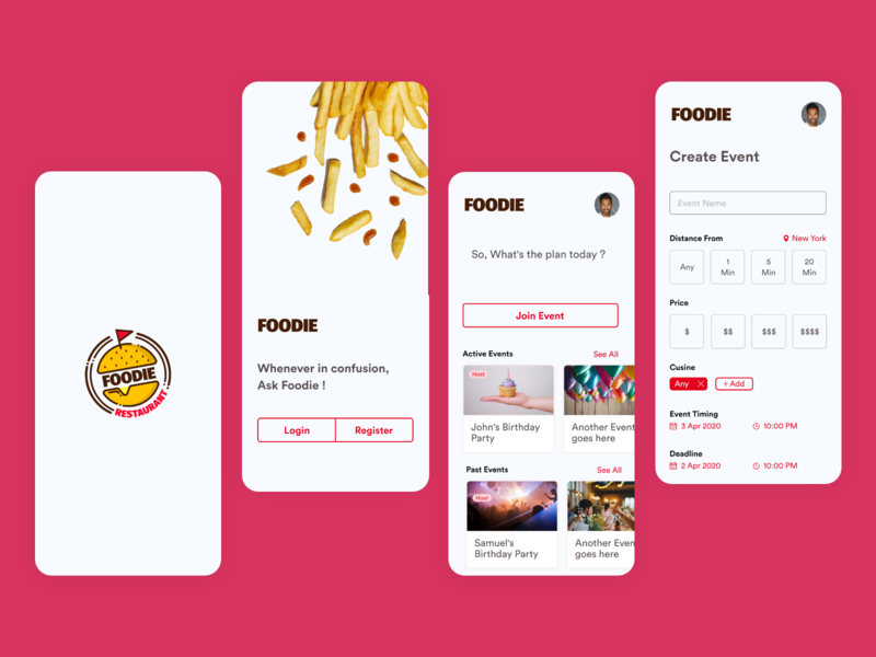 Foodie Buddy Food Application birthday food app app animation event party restaurant friends foodie pizza food clean  creative mobile app adobe xd specindia minimal ux ui design