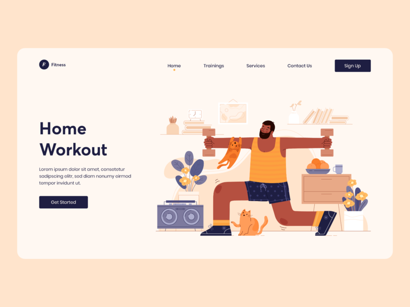 Landing Page for Home Workout Website gym fitness exercise cycling application activity landing page concept clean website illustration specindia adobe xd clean  creative minimal ux ui design aerobics
