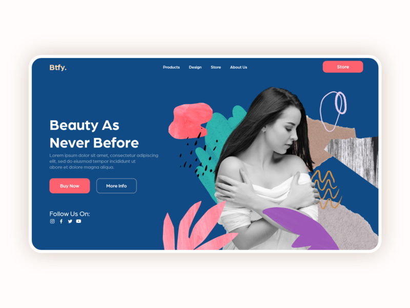 Landing page for Btfy corporate design beauty product skincare lifestyle elegance store beauty beautiful landing page website adobe xd specindia clean  creative minimal ux ui design