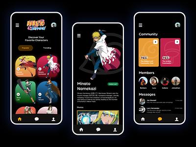 Naruto Fandom Wiki Application search photo video anime cartoons chat show fan community naruto vector illustration mobile app figma specindia clean  creative minimal ux ui design