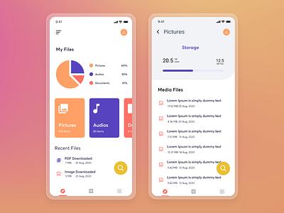 File Manager App mobile app dashboard cleaner minimal design ux ui storage files app mobile