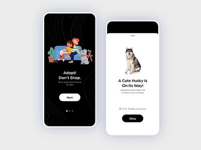 Pet Adoption App social adopt animals adoption pets vector specindia illustration mobile app adobe xd clean  creative minimal ux ui design