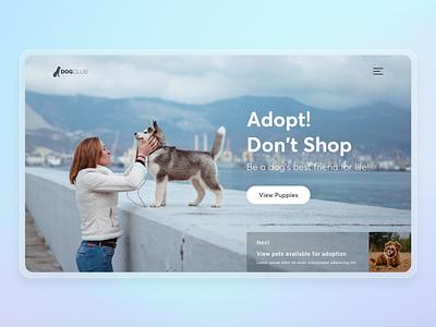 Pet Adoption Landing Page petshop creative hero banner concept puppies animal cat dog adoption pet landing page website specindia clean  creative ux ui design