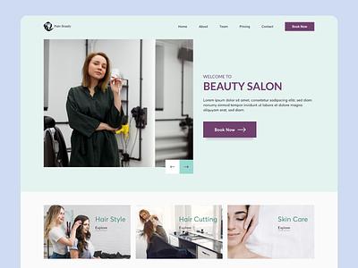 Landing page of Pure Beauty Salon beauty salon salon hair skin concept services care beauty branding adobe xd landing page website specindia clean  creative minimal ux ui design