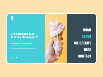 Landing Page for Ice Cream Shop flat clean  creative minimal ux web design