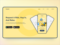 Landing Page for Taxi Booking Application flat website google play store app store route taxi cab booking landing page illustration vector adobe xd specindia clean  creative minimal ux ui design