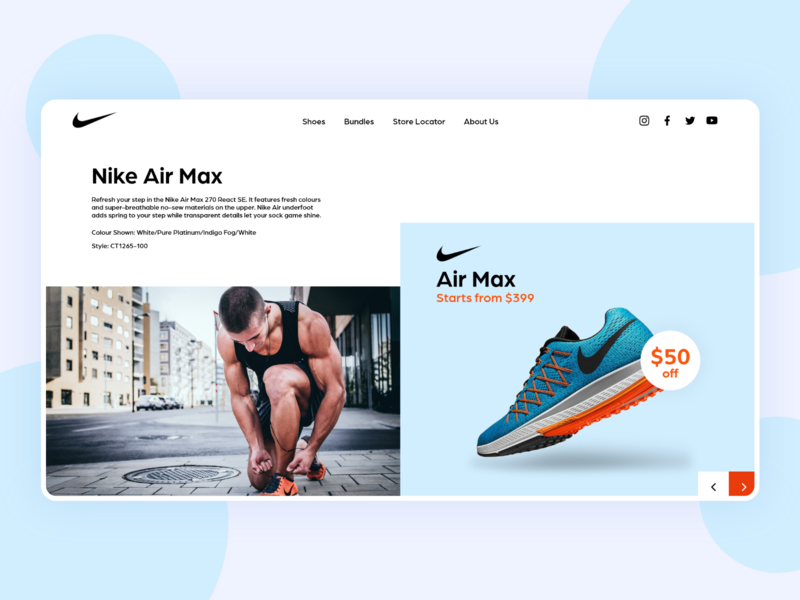 Nike Website Concept branding clean  creative design sports minimal landing ux ui web design website app shoes nike