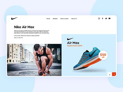 Nike Website Concept branding clean  creative design sports minimal landing ux ui web design website app shoes nike