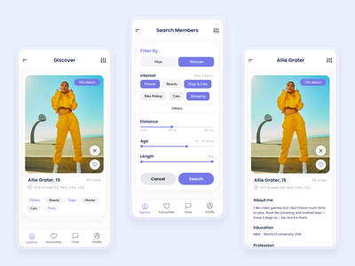 Dating App Design likes partner love matching dating app dating minimal clean  creative mobile app adobe xd specindia ux ui design