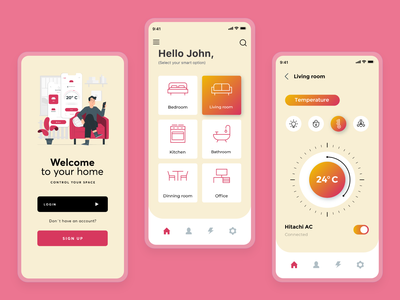 Smart Home Mobile Application life assistant home intuitive control smart home clean  creative mobile app adobe xd specindia minimal ux ui design
