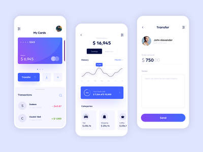 ePayment Mobile Application chart tracker fund transfer figma design epay finance payment app vector flat mobile app figma specindia clean  creative minimal ux ui design