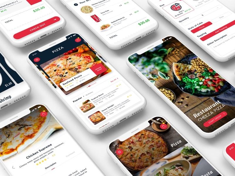 Cheeza Pizza App - GIVE AWAY inspiration pizza hut pizza customization pizza app sketch design ui interface