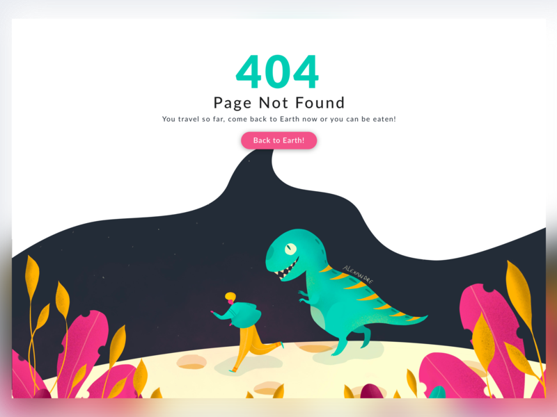 Daily UI - Day #008 - 404 Error page not found 404 error 404 error page runaway dinosaurs plannet drawing challenge illustration design sketch ui interface procreate daily ui