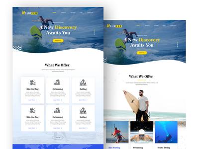 Surfer Website UI Design ui typography ui ux design