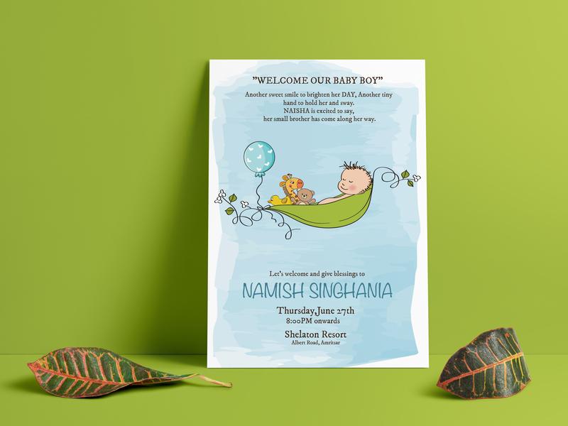Born Baby Invitation illustration graphic design branding