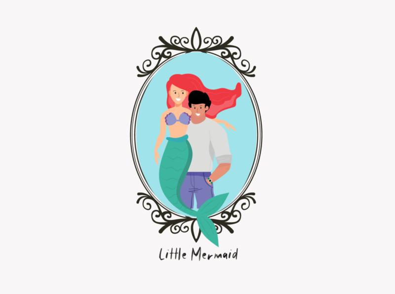 Ariel and Eric Disney character illustraion illustrator disney princess disney art princess prince eric ariel mermaid disney