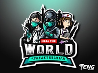 HEAL THE WORLD LOGO MASCOT VECTOR ESPORT/SPORT