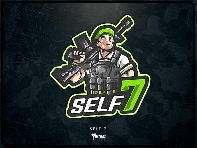 SELF 7 ARMY sport esport character logo mascot illustration