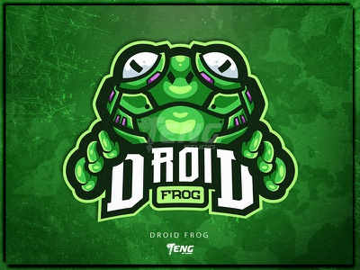 DROID FROG vector ui illustration game cartoon frog esport character logo mascot