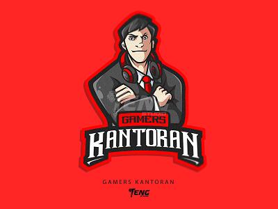 Gamers Kantoran vector illustration branding design sport esport character logo mascot