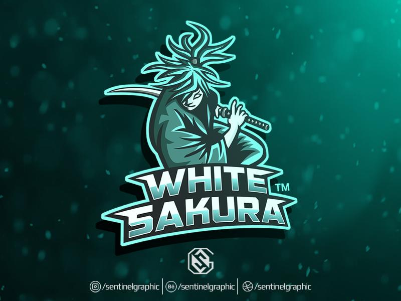 white sakura esport logo samurai mascot logo sport by teng studio