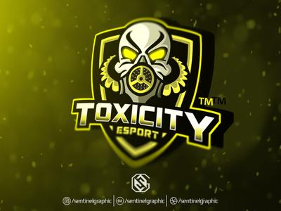 TOXICITY Esport Logo | GAS MASK Mascot Logo Sport