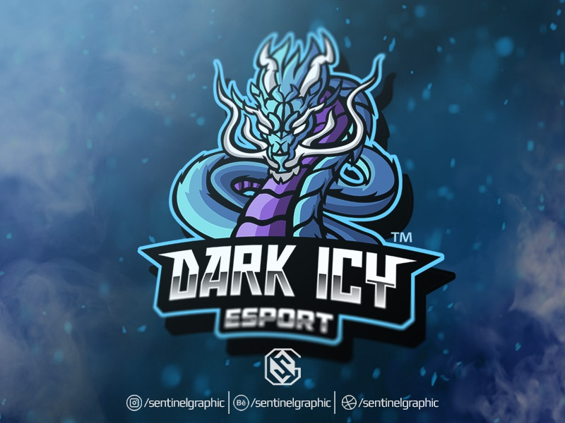 Dark Icy Esport Logo | Dragon Mascot Logo Sport design character esport sport logo mascot team branding dragon