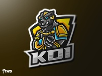 KOI BLACK PANTHER Logo Esport Mascot Character Vector