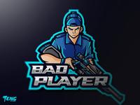 BAD PLAYER Esport Mascot Character Vector