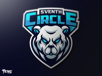 SVENTH CIRCLE BEAR MASCOT LOGO CHARACTER VECTOR