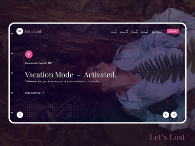Let's Lost - Hero Banner | Web UI call to action slider vacation web hero banner freebie psd free dribbble