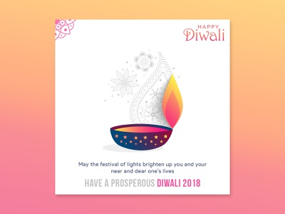 Happy Diwali Wish 2018 free free psd freebie greeting card festival poster festival diwali2018 diwali wishes hero banner hero area illustration dribbble creative  design clean
