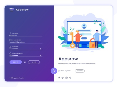Something more with signup screen for Appsrow branding freebie psd technologies illustraion create account fields signup sign in signup screen signup page form design landing page free psd login registration form user technology dribbble web