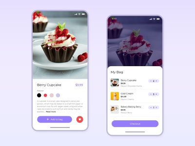 SweetShop cart screen for Iphone  |  Free psd mobile product clean ui free psd mobile app sweets cake shop iphone app iphone x app app design