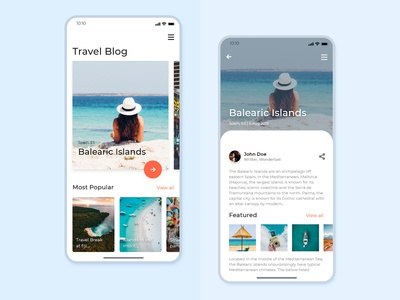WonderLust blog screen for iPhone X | Free PSD