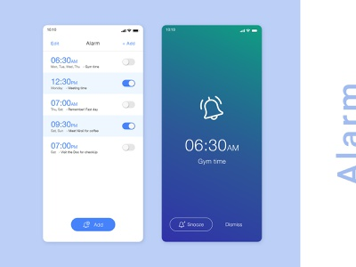 Alarm screen for iPhone x  |  Free PSD icons clean ui alarm app alarm clock iphone x app design ui design free psd wake up gradient clean