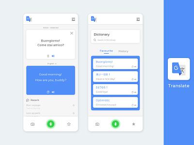 Google translate  |  Uplabs Challenge blue ux design ui app design design challenge uplabs redesign concept google translate google freebie psd dribbble