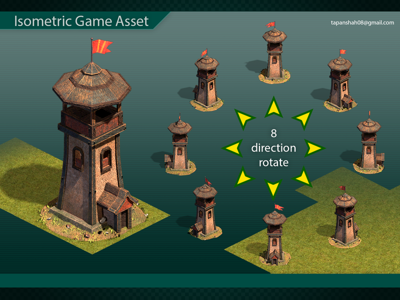 ISOMETRIC MEDIEVAL GAME ASSET medieval guard tower texure 3d modeling 3d art game asset map game art isometric isometric art
