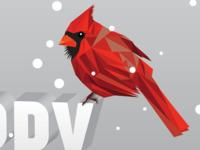 2015 Holiday Card Detail low poly xmas holiday snow cardinal