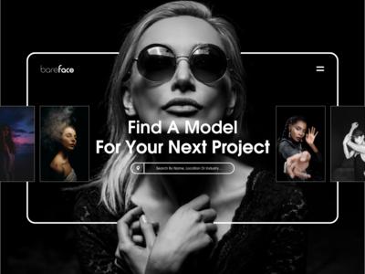 Web UI concept for @bareface_model_agency